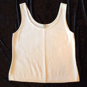 ST. JOHN Santana Knit Tank White Shell Scoop Neck